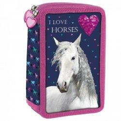 Piórnik trójkomorowy z wyposażeniem I LOVE HORSES Konie (PWTKO17)