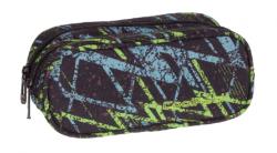 Piórnik CoolPack CLEVER dwukomorowy saszetka w zielone i niebieskie wzory, LIGHTNING  (73684)