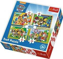 TREFL Puzzle 4 w 1 PSI PATROL, Zawsze na czas (34307)