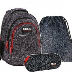 ZESTAW 3 el. Plecak szkolny młodzieżowy BackUP SKÓRA SŁONIA (PLB2H38SET3CZ)