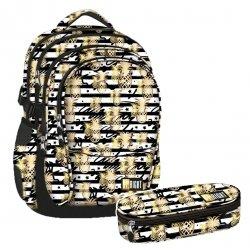 ZESTAW 2 el. Plecak szkolny młodzieżowy ST.RIGHT w złote tropiki, TROPICAL PARTY BP1 (21642SET2CZ)
