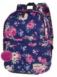 Plecak CoolPack miejski FANNY kwiaty na granatowym tle, MIDNIGHT GARDEN + pompon (12515CP)