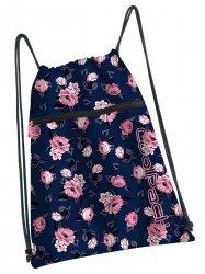 WOREK CoolPack SHOE BAG sportowy na obuwie granatowy w pastelowe róże, ROSE GARDEN (93347CP)