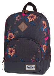 Plecak szkolny, miejski młodzieżowy COOLPACK CLASSIC szary w kolorowe kwiaty GREY DENIM FLOWERS 1013 (72069)