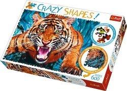 TREFL Puzzle 600 el. Crazy Shapes Oko w oko z tygrysem (11110)