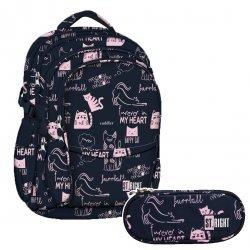 ZESTAW 2 el. Plecak szkolny młodzieżowy ST.RIGHT w kotki, CATS BP1 (20980SET2CZ)