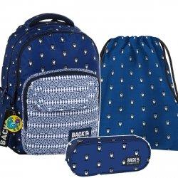 ZESTAW 3 el. Plecak szkolny młodzieżowy BackUP SOWY (PLB2L13SET3CZ)