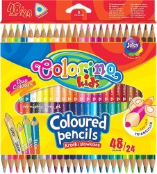 Kredki trójkątne dwukolorowe 48 kolorów COLORINO (51705)