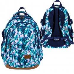 Plecak szkolny młodzieżowy ST.RIGHT w błękitne liście, BLUE LEAVES BP1 (25589)