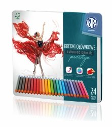 Kredki ołówkowe PRESTIGE w metalowym pudełku 24 kolorów ASTRA (312118009)