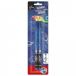 Ołówki szkolne trójkątne grube z gumką HB 2 szt. KIDEA (OTGG2KA)