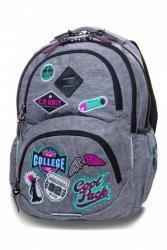 Plecak CoolPack DART L szary w znaczki, GIRLS BADGES GREY (B19058)