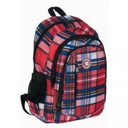 Plecak szkolny młodzieżowy czerwony w kratę (161827B)