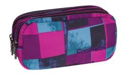 Piórnik trzykomorowy saszetka COOLPACK PRIMUS w niebieskie i różowe kwadraty, PLAID 906 (69366)