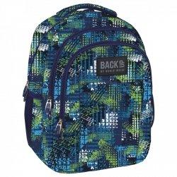 Plecak szkolny młodzieżowy Back UP niebieskie i zielone wzory TIRE TRACKS (PLB1H30)