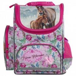 ZESTAW 4 el. Tornister szkolny ergonomiczny I LOVE HORSES Konie (TEMBKO18SET4CZ)