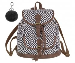 Plecak CoolPack miejski FIESTA w kremowe i granatowe wzory, INDYGO z pomponem (84437CP)