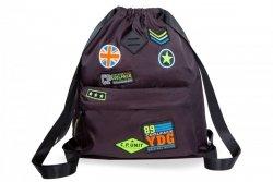 Plecak Sportowy Worek na sznurkach CoolPack URBAN czarny w znaczki, BADGES BLACK (B73055)