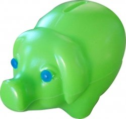 Skarbonka świnka plastikowa ZIELONA (00172)