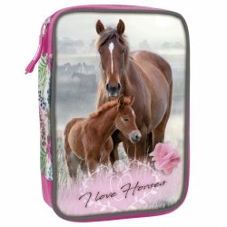 Piórnik z wyposażeniem WIELOFUNKCYJNY I LOVE HORSES Konie (PWJWKO18)