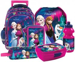 Plecak szkolny na kółkach FROZEN KRAINA LODU, licencja Disney (PL15KKL24SET6CZ) ZESTAW 6 el.