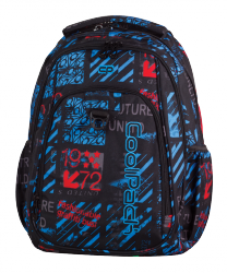 Plecak szkolny młodzieżowy COOLPACK STRIKE niebiesko - czerwone wzory, UNDERGROUND 832 (75633)