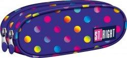 Piórnik dwukomorowy ST.RIGHT fioletowy w kolorowe kropki, NEON DOTS PU02 (12350)