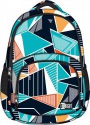 Plecak szkolny młodzieżowy ST.RIGHT w niebieskie trójkąty, ICE BLUE BP23 (18147)