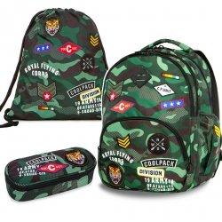 ZESTAW 3 el. Plecak CoolPack BENTLEY zielone moro w znaczki CAMO GREEN BADGES (23704SET3CZ)