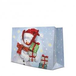 Torba torebka świąteczna FUNNY SNOWMAN, Paw (AGB2000806)
