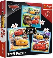 TREFL Puzzle 3 w 1 CARS Auta, Przygotowania do wyścigu (34848)