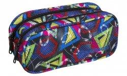 Piórnik CoolPack CLEVER dwukomorowy saszetka kolorowe wzory geometryczne, GEOMETRIC SHAPES (85281CP)