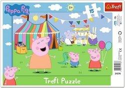 TREFL Puzzle Ramkowe 15 el. Świnka Peppa, W wesołym miasteczku (31276)