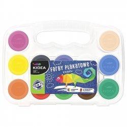 Farby plakatowe w etui 12 kolorów KIDEA (FP12EKA)