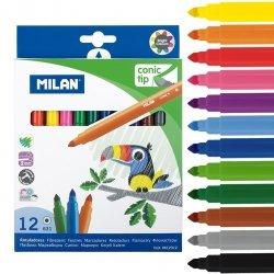Flamastry ze stożkową końcówką Milan 12 kolorów (0612312)
