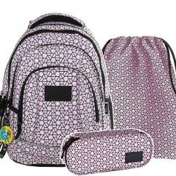 ZESTAW 3 el. Plecak szkolny młodzieżowy BackUP czarne wzory, ŚRUBKI (PLB2A02SET3CZ)
