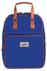 Plecak szkolny młodzieżowy, torebka 2w1 COOLPACK CUBIC niebieski w kropki, BLUE DOTS 1034 (79105)