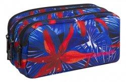 Piórnik trzykomorowy saszetka COOLPACK PRIMUS czerwone kawiaty na niebieskim tle, HAWAIAN BLUE (88138CP)