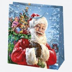 Torba torebka na prezent świąteczna mała MIKOŁAJ mix (T2_GW_12)
