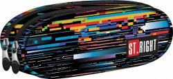 Piórnik dwukomorowy ST.RIGHT czarny w kolorowe paski, BETA STRIPES PU2 (17997)