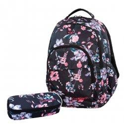 ZESTAW 2 el. Plecak CoolPack BASIC PLUS w kwiaty na ciemnym tle, DARK ROMANCE (B03020SET2CZ)
