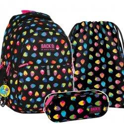 ZESTAW 3 el. Plecak szkolny młodzieżowy BackUP TRUSKAWKI (PLB2N05SET3CZ)