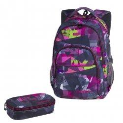 ZESTAW 2 el. Plecak CoolPack BASIC PLUS różowe wzory geometryczne, PINK ABSTRACT (84550CPSET2CZ)