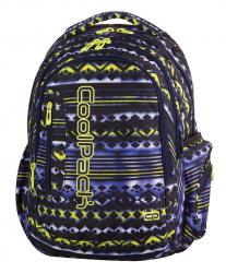 Plecak szkolny młodzieżowy COOLPACK LEADER 2 niebiesko - żółte wzory, TIE DYE BLUE 738 (73066)