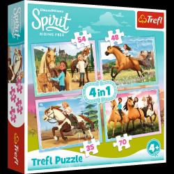 TREFL Puzzle 4 w 1 Spirit Riding Free, Popołudniowa przejażdżka (34334)