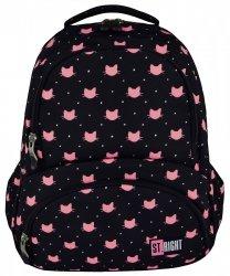 Plecak szkolny młodzieżowy ST.RIGHT czarny w różowe kotki, MEOW BP7 (17287)
