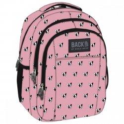 Plecak szkolny młodzieżowy Back UP pieski na różowym tle BULLDOG (PLB1H17)