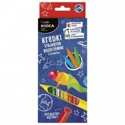 Kredki trójkątne bezdrzewne 12 kolorów KIDEA (KTB12KA)