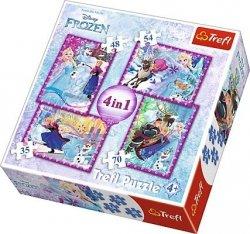 TREFL Puzzle 4 w 1 Kraina Lodu Frozen, Zimowe Szaleństwo (34294)