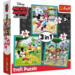 TREFL Puzzle 3 w 1 Myszka Miki  przyjaciółmi (34846)